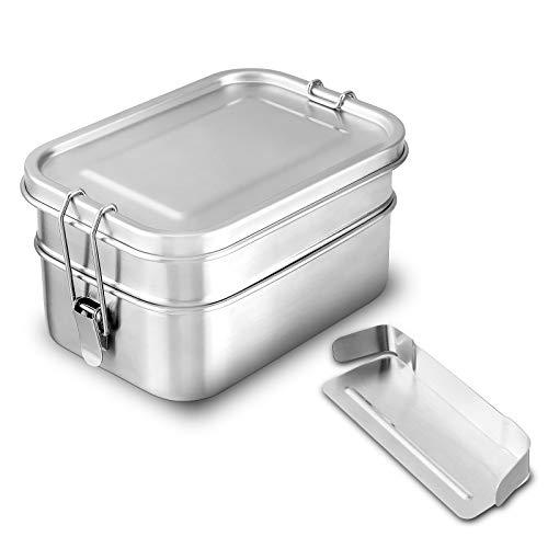 Charminer 2in1 Brotdose, Lunchbox aus Edelstahl, 2 Separate Fächer (1340ML)