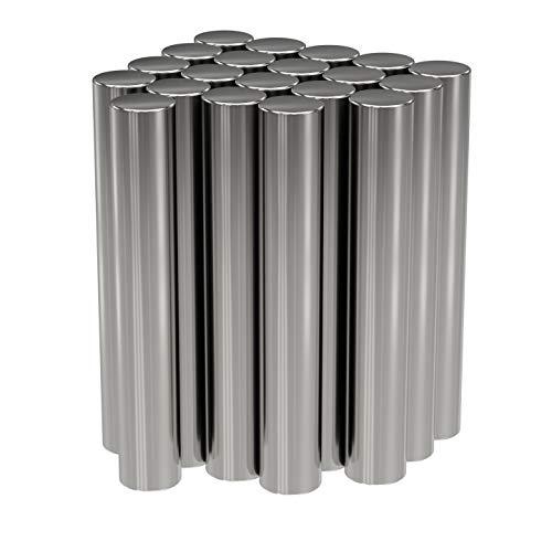 20x Neodym Power Magnet Silber - Stabmagnet extra stark lang - Durchmesser 4x25mm lang - Starke Magneten Supermagnet - Haftkraft ca. 0,8 kg - Magnete für Whiteboard, Pinnwand, Magnettafel, Werkstatt