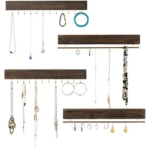 Large Wall Mounted Jewelry Organizer. 17' Inches Wide Rustic Display with Hooks for Hanging Rings, Earrings, Necklace Holder, Bracelet Hanger. Shabby Chic Wood Home Decor (Set of 4 - Dark Brown)