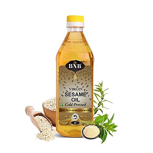 BNB Virgin Sesame Oil   Til OIl   Gingelly Oil Cold Pressed  Cooking Oil  1 LItre   100% Pure   100% Natural