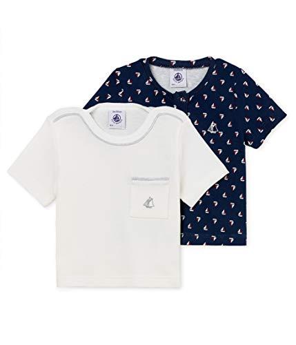 Petit Bateau Lot TS Ais T-Shirt, Multicolore (Variante 1 00), Neonato (Taglia Produttore: 12 Mesi) (Pacco da 2) Bimbo