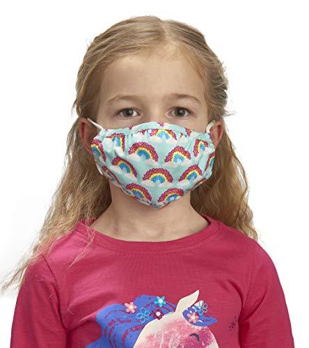 Hatley Unisex-Kinder Double Layer Face Mask with Ear Elastic Mascarilla Facial de Doble capa Con elástico para las orejas, Magical Rainbows, One Size