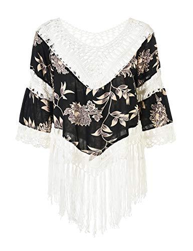 Ferand Damen Poncho Bluse Tunika Top mit V-Ausschnitt, Langen Quasten und Blumenaufdrucken, Einheitsgröße, Stil 1: Schwarz & Weiß, Einheitsgröße, Stil 1: Schwarz & Weiß