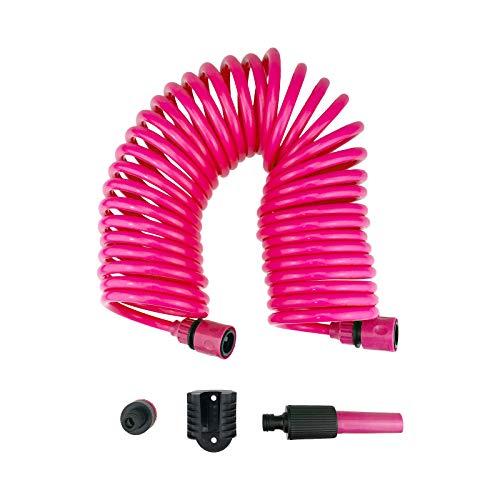 Quantio Spiral-Gartenschlauch Set - 10 m Länge - inkl. Düse, Schlauchanschlüsse, Wasserhahnanschluss und Wandhalterung mit Schrauben - Menge und Farbe wählbar, Farbe:Pink, Stückzahl:2 Stück