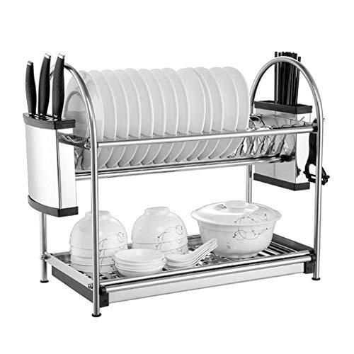 304 cocina de acero inoxidable de secado Estante for Platos, 2-Tier cocina de la Organización de almacenamiento Estante, con los palillos/Cuchillos Holder y extraíbles portacubiertos Racks Bandejas