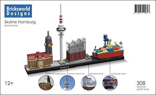 BOC Architektur Skyline Hamburg (D) module Sankt Michaeliskirche, Heinrich-Hertz-Fernsehturm, Elbphilharmonie Konzertsaal und Hafen mit Container-Schiff. Zusammengestellt von original LEGO® Neuteile