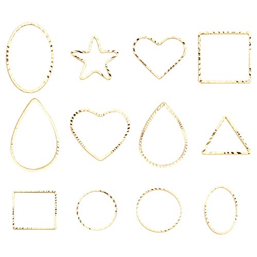 TSLBW 48 abalorios de bisel abierto para hacer joyas, colgantes de marco hueco para bricolaje, pendientes, llaveros, pulseras, manualidades, anillos de enlace