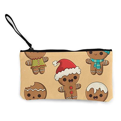 Geldbörse aus Segeltuch mit Reißverschluss, Lebkuchen-Keks-Kollektion, für Münzen, Make-up, Handy-Tasche mit Griff