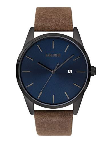s.Oliver Herren Analog Quarz Uhr mit Leder Armband SO-3850-LQ