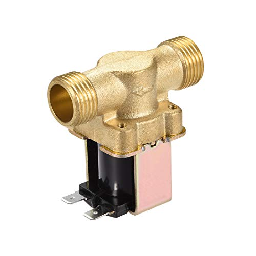 sourcing map AC220V/240V G1/2 Brass Water Electric Solenoid Valve Normally Closed N/C Pressure Water Inlet Flow Switch Electric Magnetic Valve