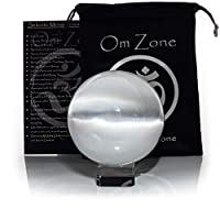 """Om Zone 4"""" Selenite Sphere Crystal Ball with Stand and Protective Bag for Scrying Mediation Feng Shui Intuition Focus and Energy Clearing"""
