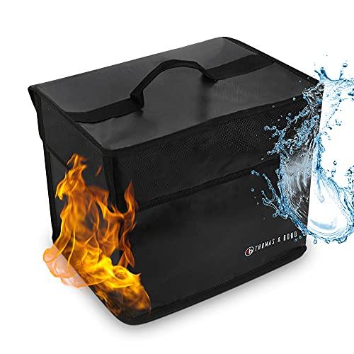 Thomas & Bond Lightweight Fireproof Safe 13.5x11x10 Only 2 LBS Holds Files Binders Documents; .77 cu ft Home Security Safe; Fireproof Waterproof Flexible Material Lockable Zipper