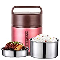 Hukphd 子供の大人のための食品フラスコステンレス鋼の熱スープフラスコ、昼食のためのBPAフリーの断熱容器、ポータブル漏れ防止熱真空ボトル 、オン・ザ・ゴー食事やスナックパッキング (Color : Pink, Size : 1.8L)