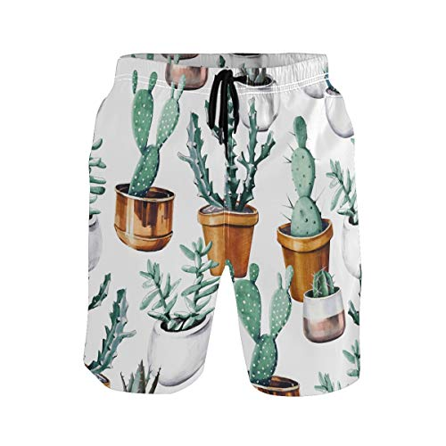 Hunihuni Herren Beach Shorts Kaktus Muster Drawsting Badehose Badeanzug Bademode Netzfutter mit Tasche Gr. S 7-9, Mehrfarbig