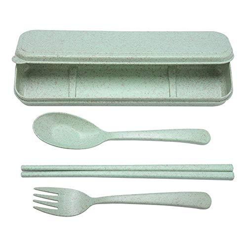 logozoe Material de Paja de Trigo Tenedor Cuchara Palillos Cubiertos, Juego de Cubiertos, Palillos portátiles Juego de Tenedor, Cuchara Palillos(Nordic Green)