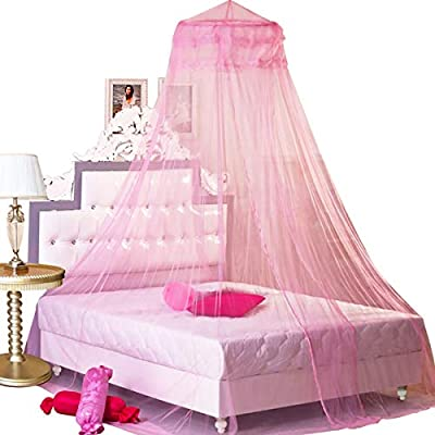 BCBYou Pink Princess Bed Canopy Netting Mosquito Net Round Lace Dome for Twin Full and Queen Size Beds Crib with Jumbo Swag Hook by BCBYou
