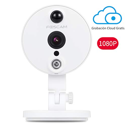 Foscam C2, Cámara IP 1080P WiFi, Vigilancia Interior. 8H GRABACIÓN EN LA Nube Gratis, Sesnsor infrarrojo de detección Movimiento, visión Nocturna, (P2P,ONVIF,Slot microSD) Version ESPAÑOLA.