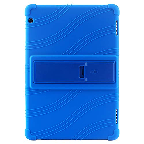 Meijunter Funda para 10.1' Huawei MediaPad T5 AGS2-W09BHN/CHN 2018 Tablet - Stand Silicona Caucho Shell Anti Slip Protector Manga (Oscuro Azul)