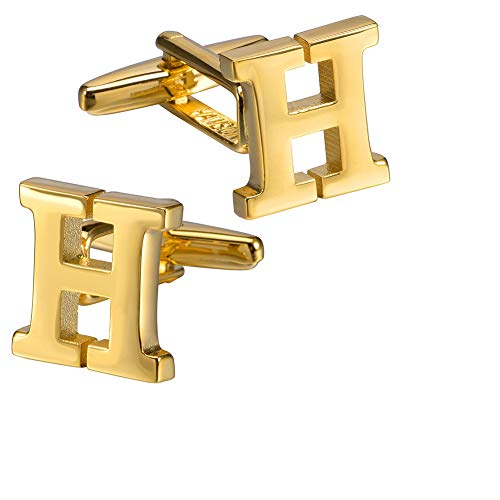 HAWSON Initials Cufflinks for Men Silver Plated Tone Mens Shirt Accessorry-Letter H