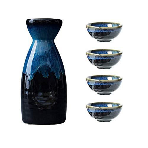 Uziqueif Sake-Set Aus Japanischer Keramik, Keramik, 4 Sake-Becher, 1 Sake-Topf, 5-Teilig,Japanische Liquor Sake Set Porzellan Traditionelle Keramikbecher Crafts Temperatur Weingläser,B
