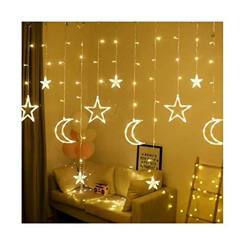 Star Curtain String Lights - Night Light 3.5m Lamp Rope Moon Lamp Star Led Decoration Christmas Lights Curtain Lamps Wedding Neon Flashlight Fairy Light (Color : Multicolor)