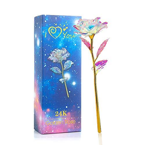 WolinTek Fiore Artificiale, 24K Rosa Regalo Anniversario Matrimonio, Placcato Oro Fiore Romantico Eterno con Confezione Fidanzata, Regalo di Natale, Decorazioni,Regali Unici(Multicolor) (Style 1)