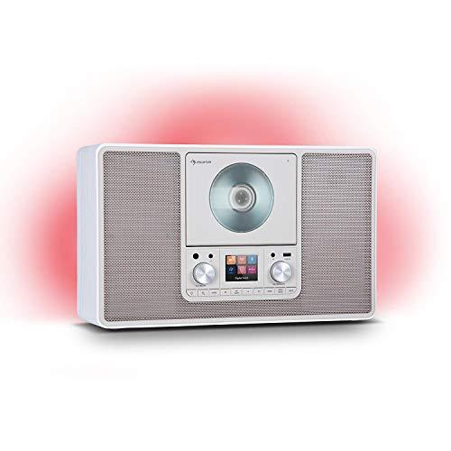 auna Scala VCD - Radio Digitale, Lettore CD, Radio DAB DAB+ FM, 2 Casse da 10 Watt RMS, LED-Ambient-Backlight in 7 Colori, Verticale: Installazione a Parete o su Tavolo, Mediaplayer, Bianco