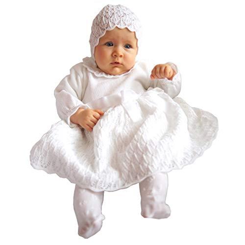 EKO Taufkleid für Mädchen Set Mütze und Strickkleid weiß, Größe:62, Farbe:weiß