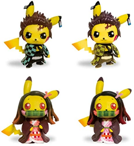 no!no! Anime Demon Slayer figuur Pikachu Pokemon Type Q Kamado Nezuko Kamado Tanjirou Pocket Series 12CM Anime sculptuur collectie Cadeau