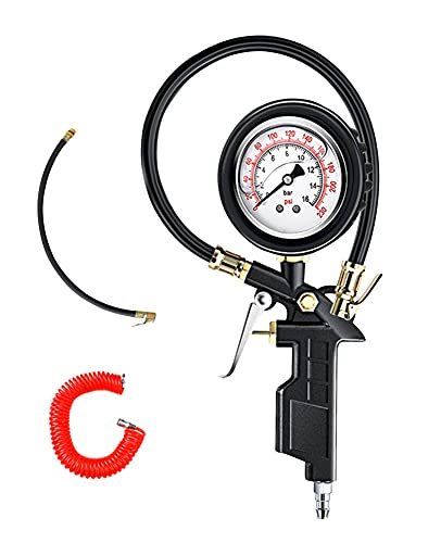 Medidor de presión de neumáticos, medidor de presión de neumáticos de 230 PSI con aceite con tubo de gas y tapas de válvulas de tubo de resorte para monitorear la presión de los neumáticos, la herrami
