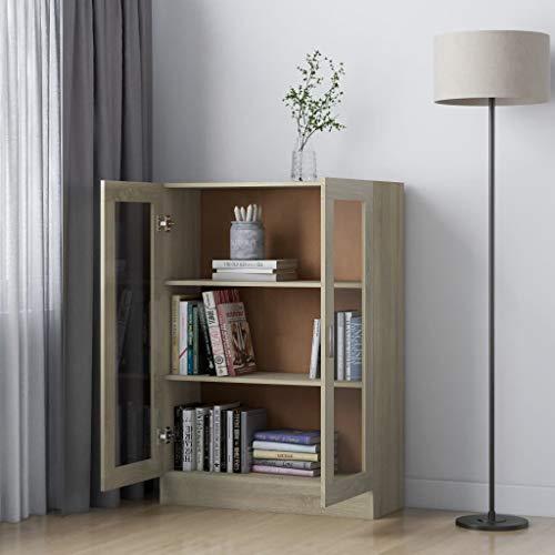 Armario de cocina, 3 estantes porta utensilios de cocina de madera de conglomerado con puertas de cristal, librería armario para libros, CD y plantas, 82,5 x 30,5 x 115 cm