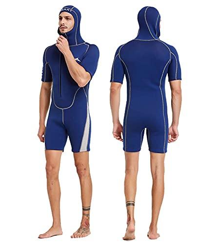 DFBGL Pantalones Cortos de Neopreno para Hombre de 3 mm con Capucha, Trajes de Buceo Ultra elásticos de Neopreno de una Pieza con Cremallera Frontal, para Buceo, Surf, Snorkel