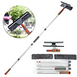 Professional Window Squeegee Cleaner, 2 in 1 Shower Squeegee with Extension Pole, 62'' Telescopic Window Washing Equipment with Bendable Head, Glass Cleaning Tools for Indoor/Outdoor High Window