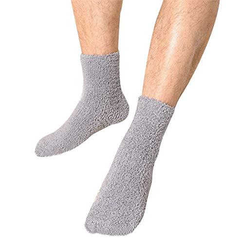 OVOV 3 Pairs Men's Floor Socks Winter Warm Coral Fleece Fluffy Soft Fuzzy Home Socks (Grey)
