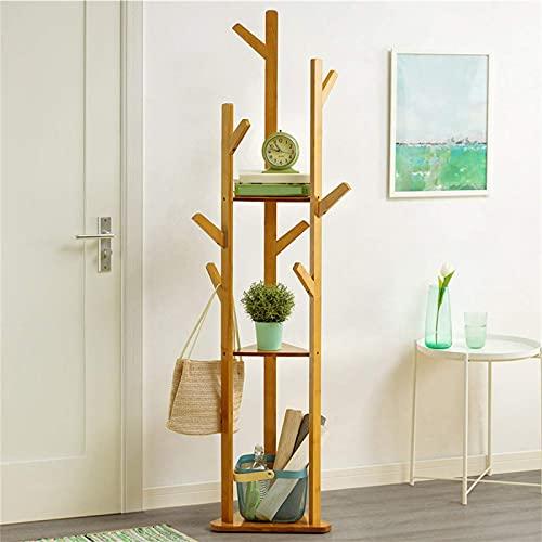 YXZN Percheros para Muebles, Estantes De Bambú De 170 Cm Y Perchero para Ganchos, Perchero Portátil para Ropa De Vestir, Entrada Independiente