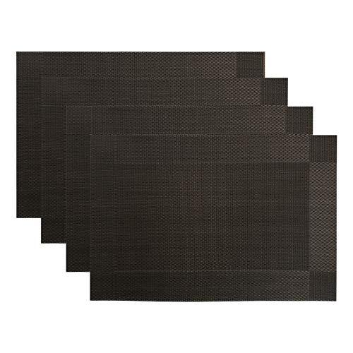 CITÉTOILE Lot de 4 Sets de Table Napperons Tressés en PVC et Polyester Lavables à la Main Resistant à la Chaleur Résistance à l'abrasion Antidérapant Imperméable 45cm x 30cm Décoration de Table Noir
