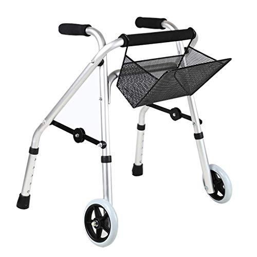Muletas, Andador infantil de aluminio, Auxiliar de rehabilitación para niños con discapacidad, Andador infantil Muletas con ruedas y cesta de la compra para niños de entre 140 y 205 cm de altu
