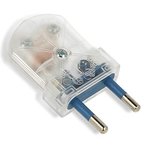 Eurostecker schraubbar für Steckdose 230v flach 2 polig euro Stecker für rund und Flachkabel (1 Stück, transparent)
