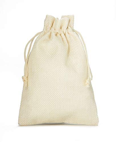 10 Sacchetti di stoffa in stile iuta, misura 30x20 cm, sacchetti regalo, sacchetti per calendario dell' avvento (crema)