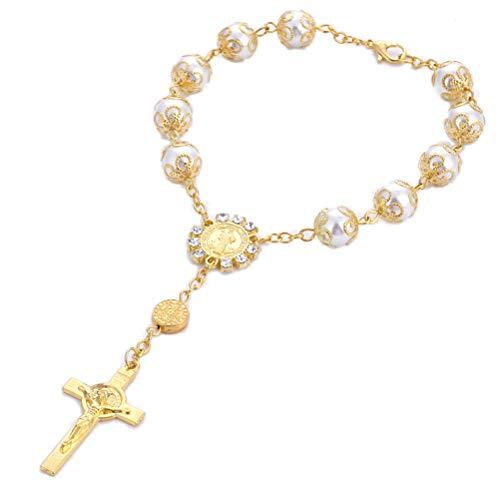 Toyvian Pulsera de Cruz Cristiana Pulsera de Rosario Artificial de Perlas para Mujeres y niñas (Dorado)