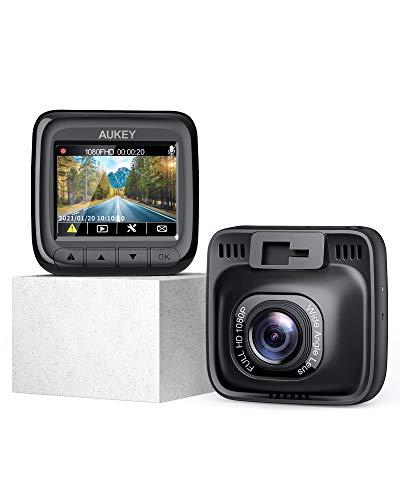 AUKEY Cámara de Coche Full HD 1080P Dash Cam Supercondensador y 170 Grados Gran Ángulo Dashcam con WDR , Detector de Movimiento, G-Sensor, Loop de Grabación y Cargador de Coche con Doble Puerto
