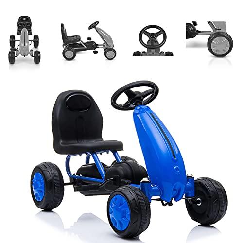 Moni Kart Infantil Blaze neumáticos plástico Respaldo Alto a Partir de 18 Meses, Color:Azul