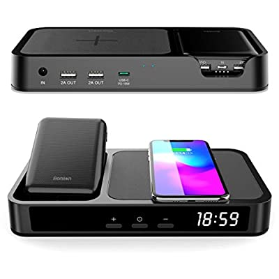 6 in 1 Bedside Charging Station with Alarm Clock, BONLION 3 Coils Qi 10W Wireless Charging Pad...