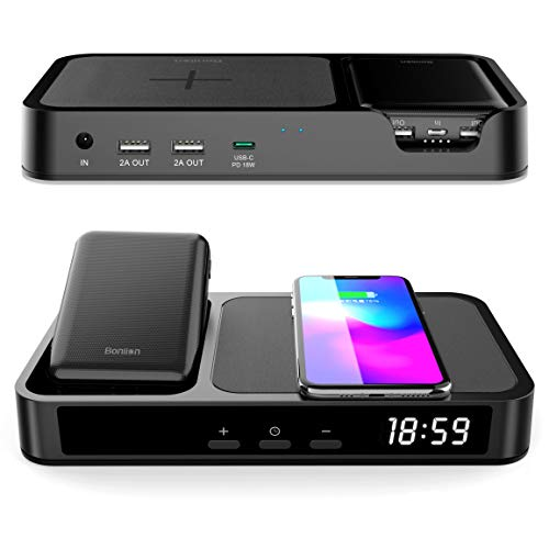 Wireless Charger, 6 in 1 Bedside Charging Station with Alarm Clock, BONLION 3 Coils Qi 10W Wireless Charging Pad & Power Bank Charging Dock with 18W PD USB-C & 2 USB-A for iPhone, Galaxy(ETL Adapter
