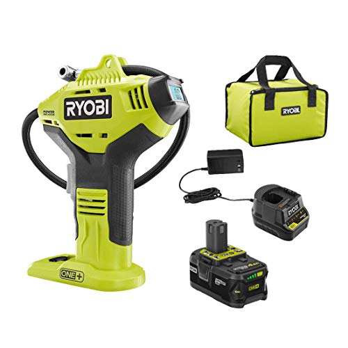 Ryobi P737D 18-Volt ONE+ Cordless High Pressure Inflator with Digital Gauge, 4.0 Ah 18-Volt ONE+ High Capacity Lithium-Ion Battery, Charger, and Bag (Bulk Packaged)