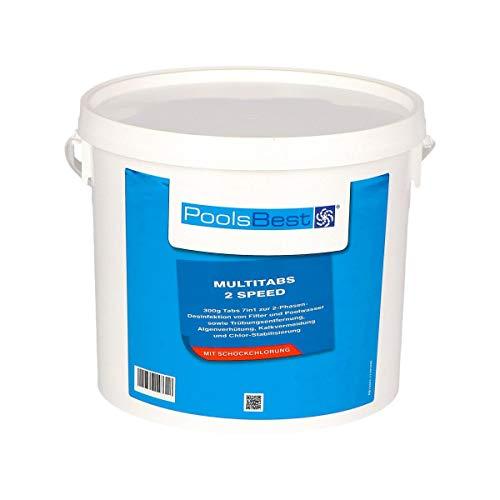 POOLSBEST® 4,8 kg Multitabs 2 Speed 7 in 1 - Chlortabletten für Pool mit 2 Phasen-Desinfektion (schnell- und langsamlöslich)