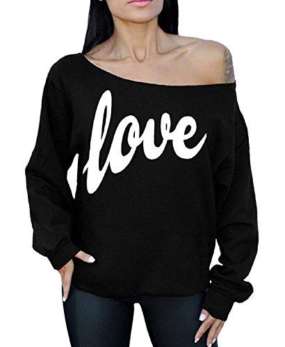 Love Off Shoulder Oversized Sweatshirt in 6 colors - S to XL