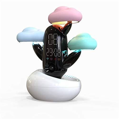 Lámpara de noche Recordatorio de voz Tiempo resplandor luz de la noche la nube de sensor inteligente en tiempo Intelligent Light Diversión alarma de precisión del reloj inteligente (Color : White)