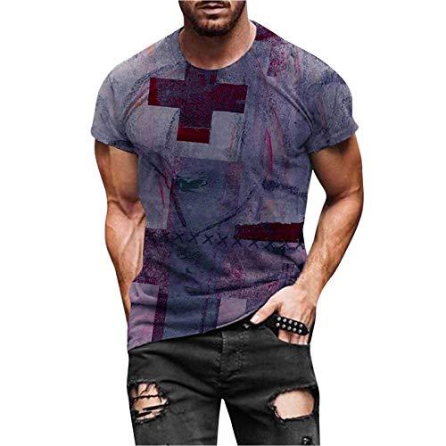 FeelFree+ Camisas y Blusas de Hombres Tallas Grandes Manga Corta Moda Retro Blusa Casual Basica Camiseta Corta con Cuello Redondo y Estampado Suelto Verano Fiesta T-Shirt Original Tops