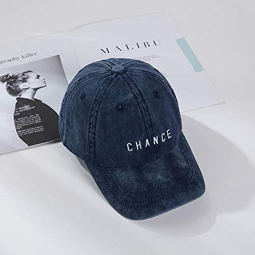 Hut weiblicher Retro-Cowboy gewaschen lila Baseballkappe männlich wilder Buchstabe Stickerei Softtop-Kappe-Einstellbar_Marineblau